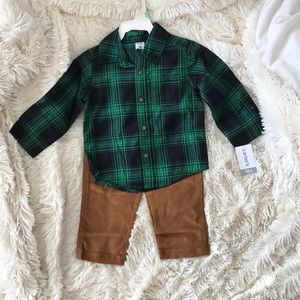 Plaid Shirt with Matching Corduroys